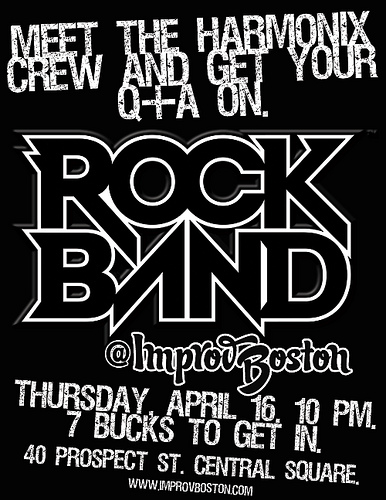 Play Rock Band with the Harmonix Crew, Tonight at ImprovBoston in Central Square!