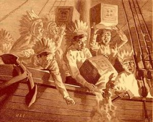 The Boston Tea Party, this day 236 years ago in Boston Harbor.